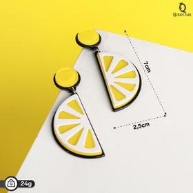 """Серьги пластик """"Вивьен"""" лимоны, цвет жёлто-белый"""
