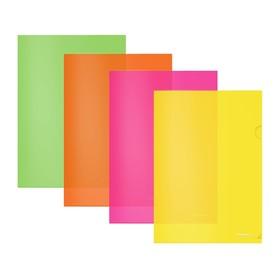 Папка-уголок А4, ErichKrause. Fizzy Neon, полупрозрачная, МИКС Ош