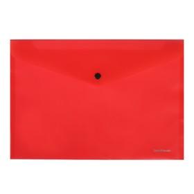 Папка-конверт на кнопке А4, ErichKrause. Fizzy Classic, непрозрачная, красная