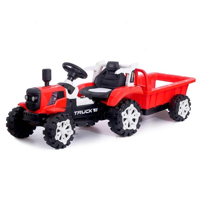 купить Электромобиль Трактор, с прицепом, 2 мотора, цвет красный