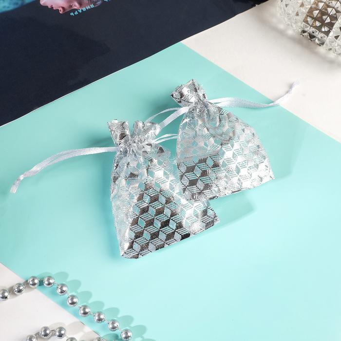Мешочек подарочный Геометрия 79, цвет белый с серебром