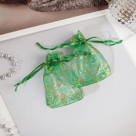Мешочек подарочный 'Растительный орнамент' 7*9, цвет изумрудный с золотом Ош