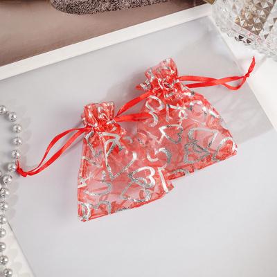 """Мешочек подарочный """"Сердечки"""" крупные 7*9, цвет красный с серебром"""