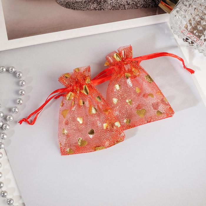 Мешочек подарочный Сердечки малые 79, цвет красный с золотом