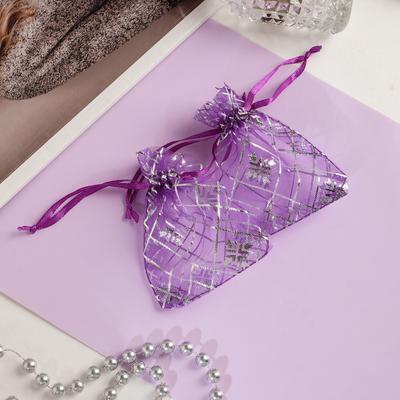 """Мешочек подарочный """"Ромбы"""" 7*9, цвет тёмно-фиолетовый с серебром"""