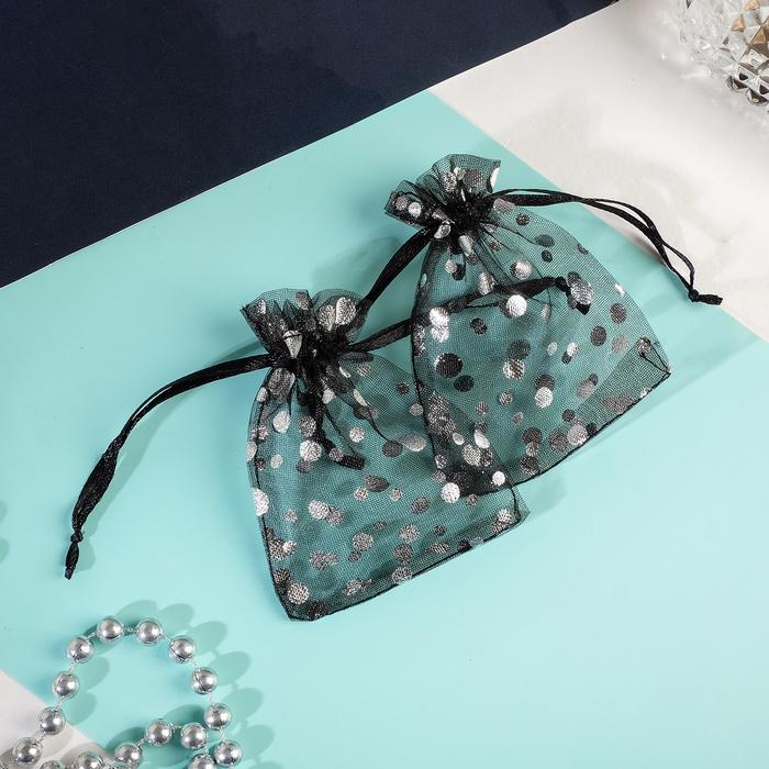 Мешочек подарочный Пузырьки 79, цвет чёрный с серебром
