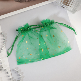 Мешочек подарочный 'Драже' 10*12, цвет изумрудный с золотом Ош