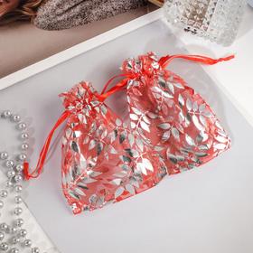 Мешочек подарочный 'Веточки' 10*12, цвет красный с серебром Ош