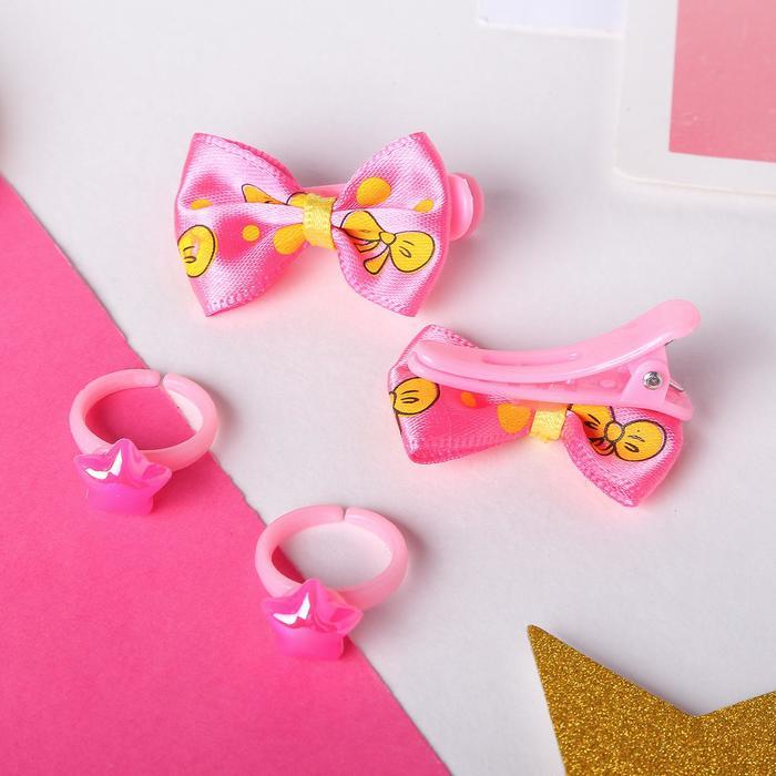 Комплект детский Выбражулька 4 предмета 2 заколки, 2 кольца, ассорти, форма МИКС, цвет МИКС