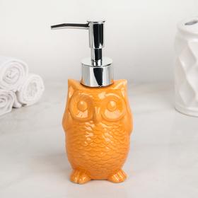 Дозатор для жидкого мыла Доляна «Совушка», 250 мл, цвет оранжевый Ош