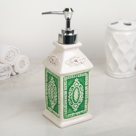 Дозатор для жидкого мыла Доляна «Эстет», 320 мл, цвет зелёный Ош