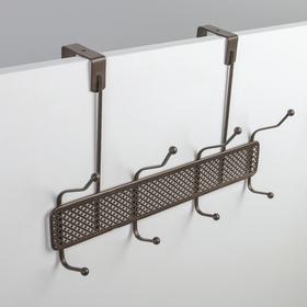 Вешалка надверная на 4 двойных крючка Доляна «Шах», 32,5×22,5×6 см, цвет коричневый
