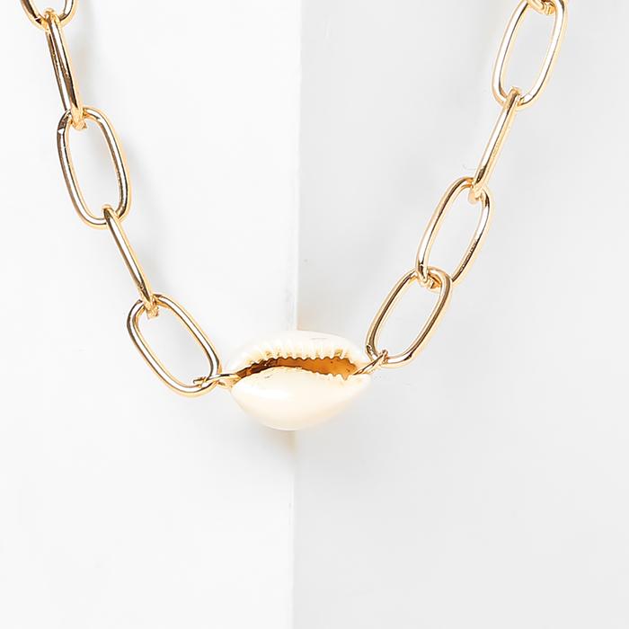 Колье Цепь морская цвет белый в золоте , длина 30см