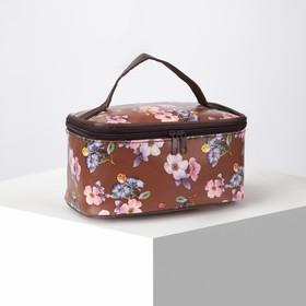 Косметичка-сумочка, отдел на молнии, с зеркалом, цвет коричневый Ош
