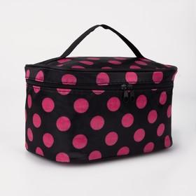 Косметичка-сумочка, отдел на молнии, с зеркалом, цвет чёрный/малиновый Ош