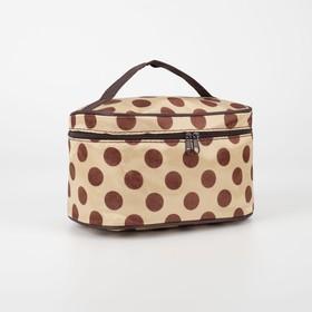 Косметичка-сумочка, отдел на молнии, с зеркалом, цвет бежевый/коричневый Ош