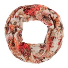 Палантин-труба женский, цвет бежевый/принт цветы, размер 70х80