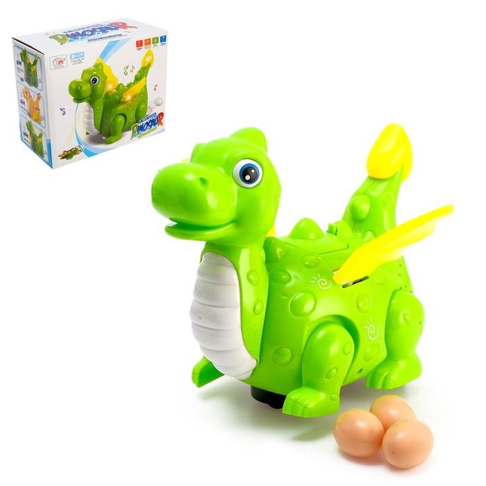 Динозавр «Дракончик» работает от батареек, откладывает яйца, световые и звуковые эффекты, цвета МИКС