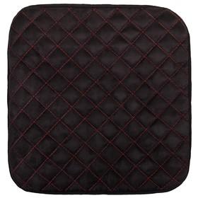 Накидка сиденья алькантара без спинки Skyway EXPENSIV черная, строчка красная Ош