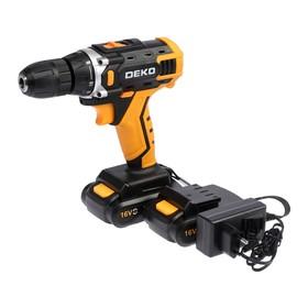 Дрель аккумуляторная и набор инструментов Deko DKCD16FU-Li, 63 предмета, 16 В, 2 АКБ