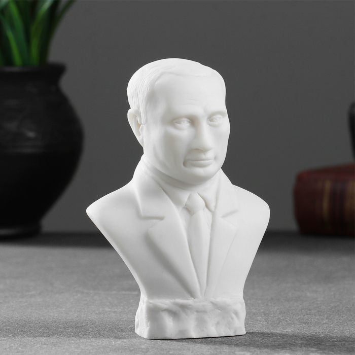 Бюст Путин 11х8см , белый / мраморная крошка