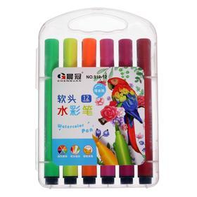 Фломастеры 12 цветов в пластиковом пенале,треугольные,толстые,вентилируемый колпачок