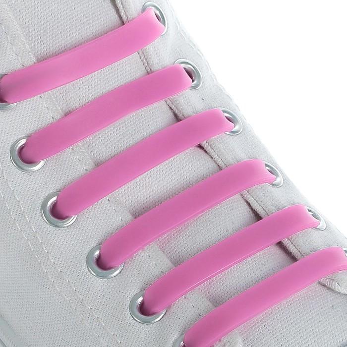 Набор шнурков для обуви, 6 шт, силиконовые, плоские, 13 мм, 9 см, цвет розовый неоновый