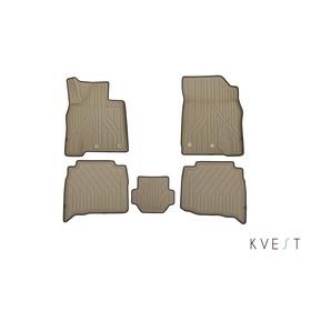 Коврики KVEST 3D в салон Lexus LX, 2015->, 5 шт. (полистар, бежевый, черный)