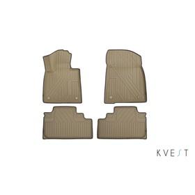 Коврики KVEST 3D в салон Lexus RX, 2015->, 4 шт. (полистар, бежевый, серый)