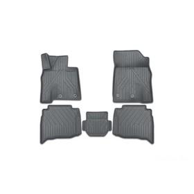 Коврики KVEST 3D в салон Toyota Camry, 2011-2017, XV50, 5 шт. (полистар, серый, черный)