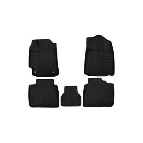 Коврики KVEST 3D в салон Toyota Camry, 2011-2017, XV50, 5 шт. (полистар, черный, черный)
