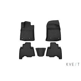 Коврики KVEST 3D в салон Toyota LC-150 Prado, 2013->, 5 шт. (полистар, серый, черный)