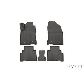 Коврики KVEST 3D в салон Lexus NX, 2014->, 5 шт. (полистар серый/бежевый)