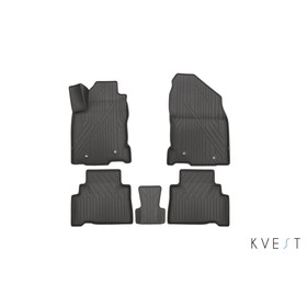 Коврики KVEST 3D в салон Lexus NX, 2014->, 5 шт. (полистар серый/серый)