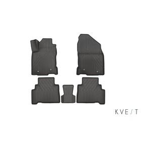 Коврики KVEST 3D в салон Lexus NX, 2014->, 5 шт. (полистар серый/черный)