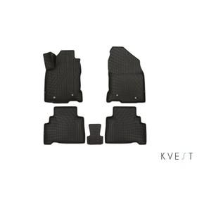 Коврики KVEST 3D в салон Lexus NX, 2014->, 5 шт. (полистар, черный/серый)
