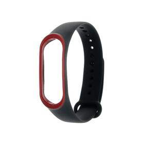 Ремешок для фитнес-браслета Mi Band 3/4 LuazON, черно-красный Ош