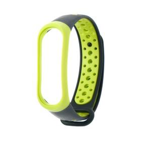 Ремешок для фитнес-браслета Mi Band 3/4 LuazON, с перфорацией, черно-зеленый Ош