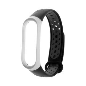 Ремешок для фитнес-браслета Mi Band 3/4 LuazON, с перфорацией, черно-серый Ош