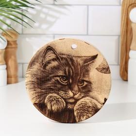 Доска из массива кедра «Кошка», круглая, 18 × 18 см №187