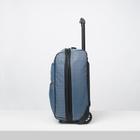 """Чемодан малый 20"""", отдел на молнии, с расширением, наружный карман, 2 колеса, цвет голубой - Фото 2"""