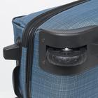 """Чемодан малый 20"""", отдел на молнии, с расширением, наружный карман, 2 колеса, цвет голубой - Фото 5"""