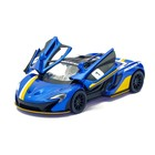 Машина металлическая McLaren P1, 1:36, открываются двери, инерция, цвет синий - Фото 4