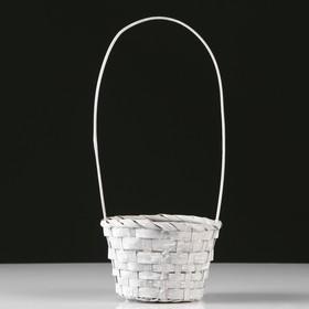 Корзина плетеная, бамбук, D13xH9.5/28 см, серый Ош