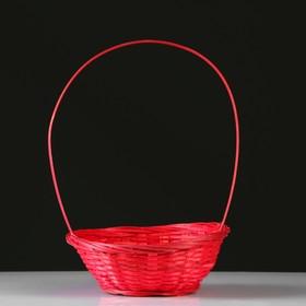Корзина плетеная, бамбук, D19xH5 см, красный