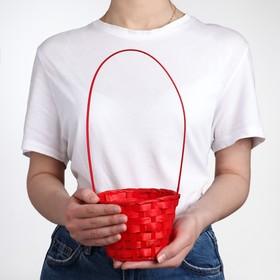 Корзина плетеная, бамбук, D13xH9.5/28 см, красный