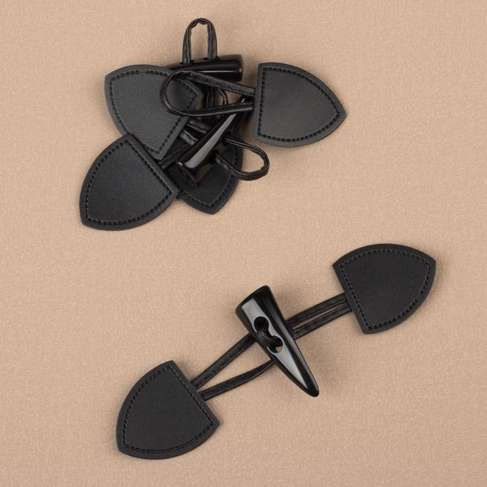 Застёжка-клевант 16 × 3,6 см, 3 шт, цвет чёрный