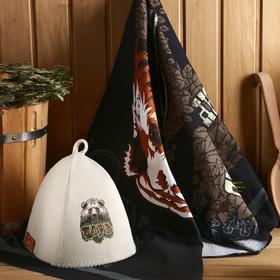Набор банный 'Добропаровъ ЦАРЬ' (шапка и полотенце 146×60 см) МИКС Ош