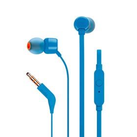 Наушники JBL T110 BLU, вакуумные, 1.2 м, проводные, синие