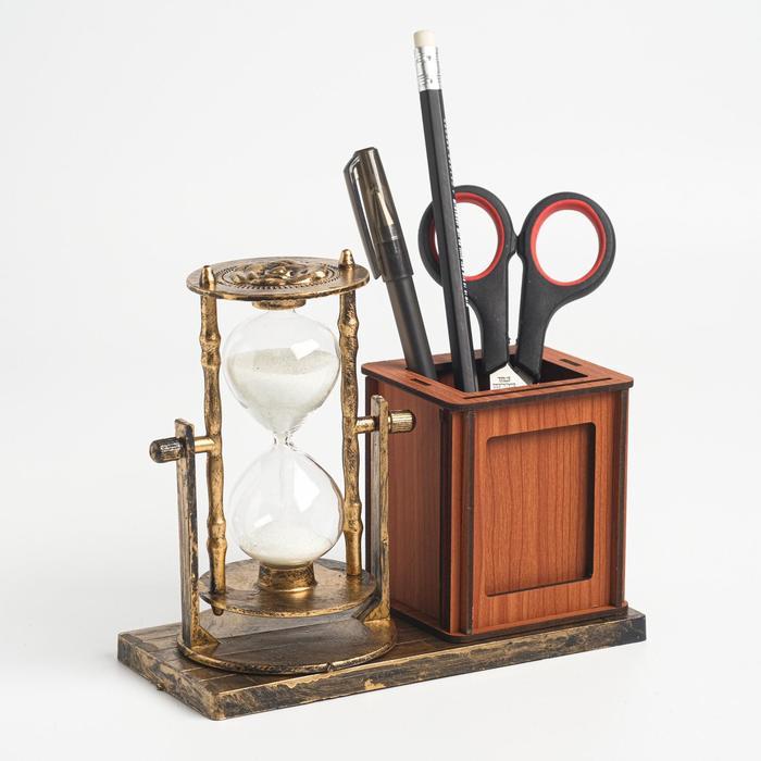 Часы песочные Селин с карандашницей и фоторамкой, 15.5х6.4х12 см